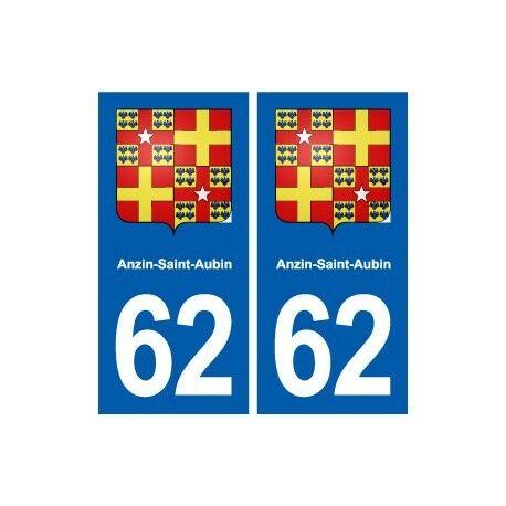 62 Anzin-Saint-Aubin blason autocollant plaque stickers ville droits