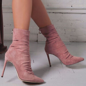 Women-039-s-Winter-Ankle-Boots-Pointed-Toe-High-Heel-Stiletto-Pump-Party-Shoes-Size