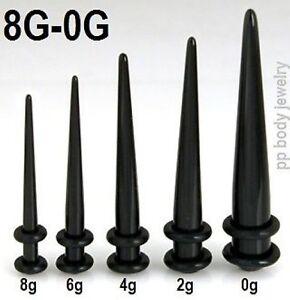 5pcs black acrylic straight tapers 8g 6g 4g 2g 0g ear