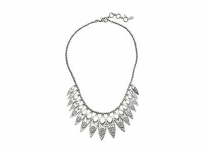 NWT Lucky Brand Silver-Tone Floral Leaf Collar Necklace $49