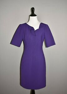 OSCAR-DE-LA-RENTA-2690-Purple-Ruffle-Neck-Fitted-Sheath-Dress-Size-4