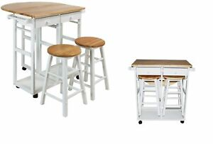 Details About Kitchen Island Table Wood Set Cart Portable Rolling Bar Drop Leaf With 2 Stools