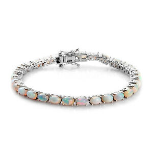 "925 Sterling Silver Platinum Over Opal Tennis Bracelet Jewelry Size 7.25"" Ct 9.3"