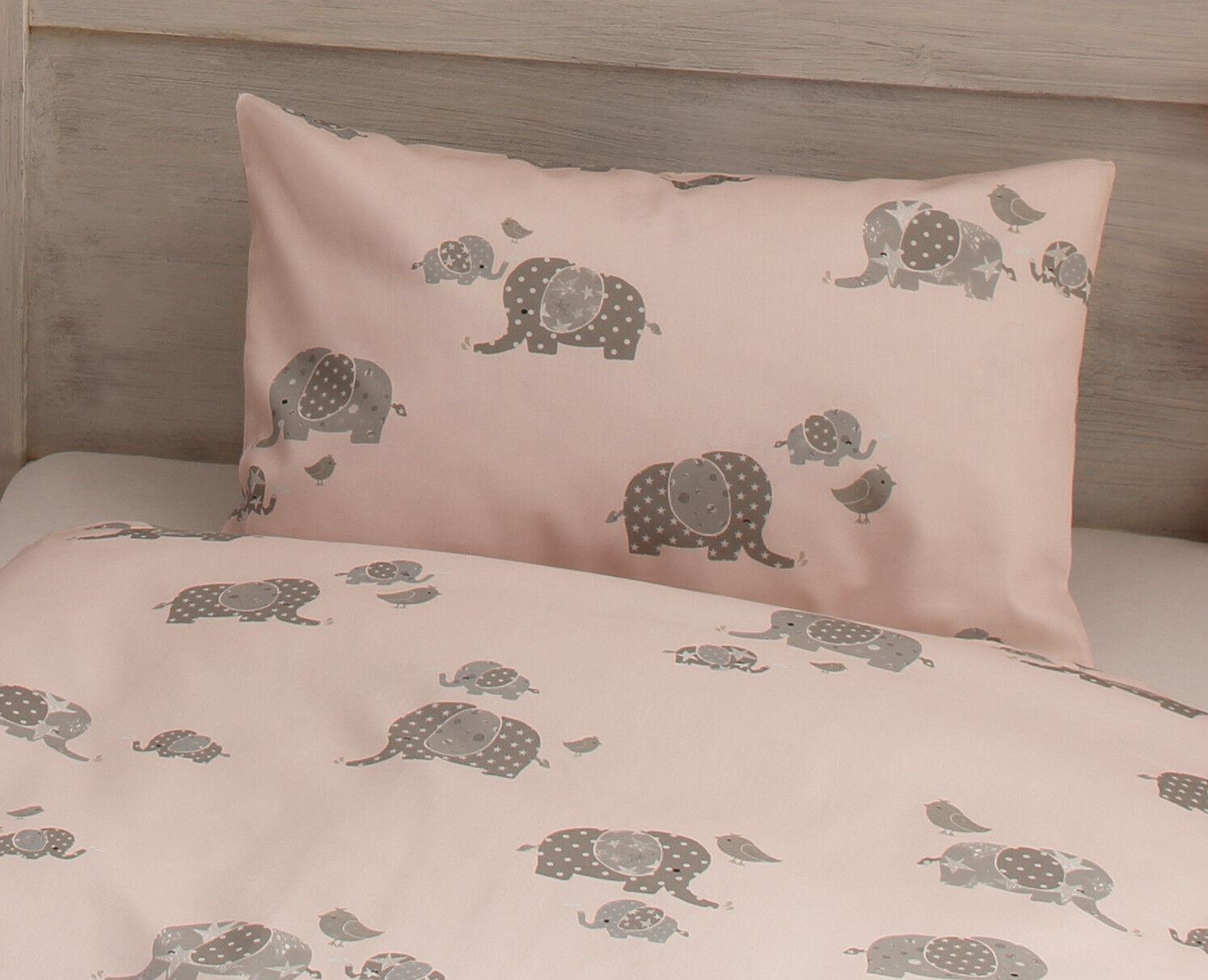 Mako Satin Kinder Bettwäsche Elefanten Elefanten Elefanten in Rosa, grau oder grün 100% Baumwolle | Online-Exportgeschäft  dea569