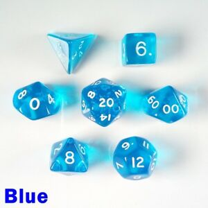 Gem-Poly-7-Dice-RPG-Set-Blue-Pathfinder-5e-Dungeons-Dragons-D-amp-D-DND-Role-Play