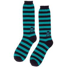 Sourpuss Striped Skull Men's Socks Black/Teal Crossbones