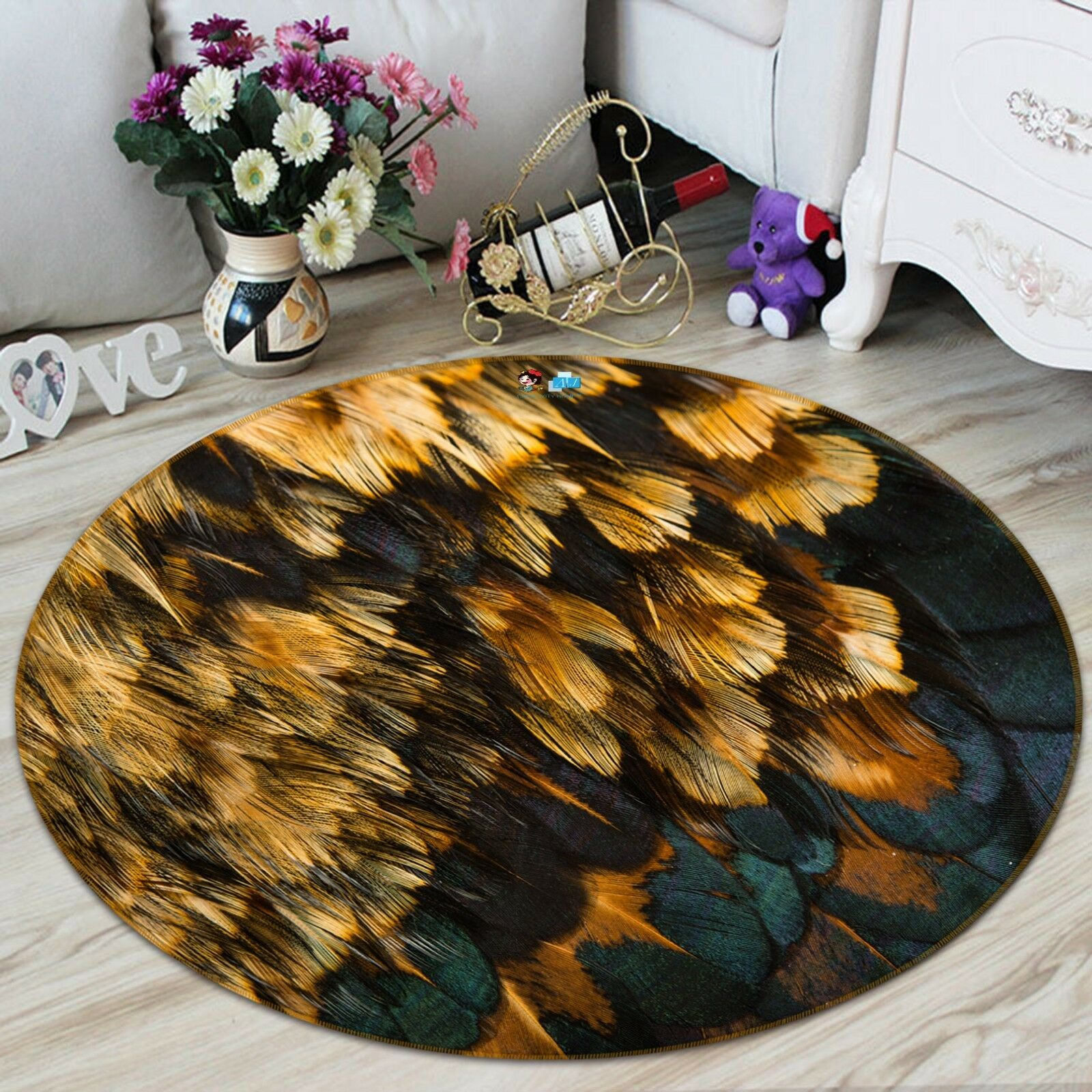 3D Feather Painting 6 6 6  Non Slip Rug Room Mat Round Quality Elegant Photo Carpet decbbc
