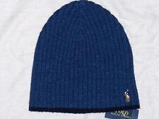 POLO RALPH LAUREN Ribbed Merino Wool Beanie, Skull Ski Cap Hat, Pony, BLUE, nwt