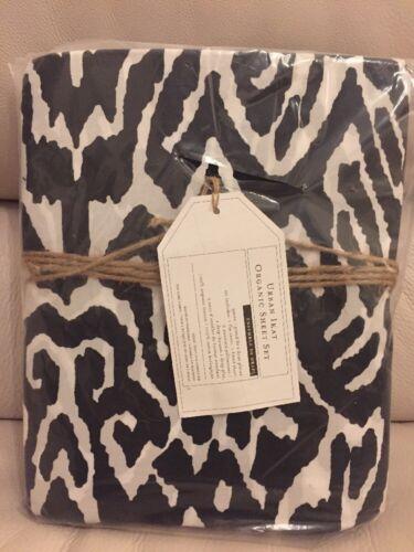 4pc Pottery Barn Teen urban IKAT organic Cotton FULL sheet set Black White NWT