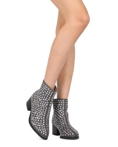 New Women MACKIN J 108-5 Studded Pointy Toe Low Block Heel Bootie