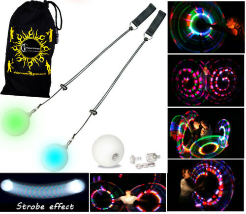 STROBE Poi Spinning Juggling BAG Flames N Games Pro LED Glow Poi Circus