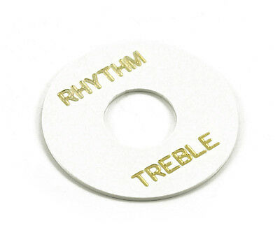 GUITAR RHYTHM TREBLE SWITCH RING FOR GIBSON LES PAUL (WHITE W/GOLD) WASHER *NEW*