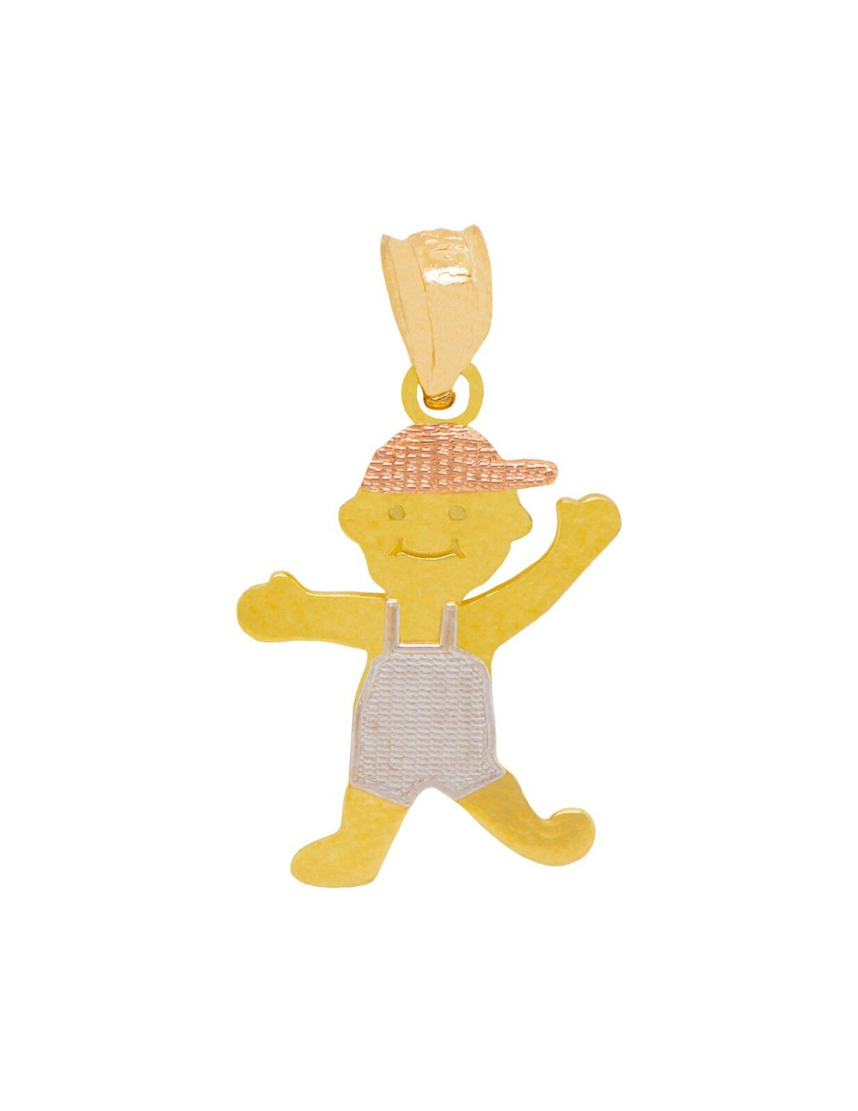 14K Tri-color gold Little Boy with Cap Pendant