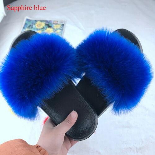 Women Flat Faux Fur Fluffy Sliders Slippers Comfy Flip Flop Shoes Sandals