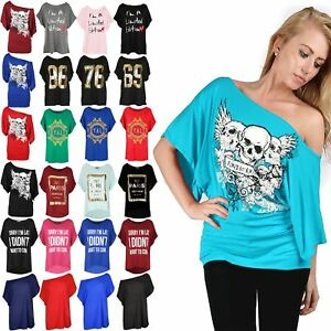 8c58ca7e Womens Ladies Off One Shoulder Skull Bardot Batwing Sleeve T Shirt ...