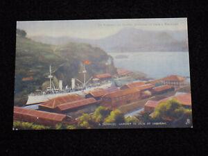 1905-Russo-Japanese-War-IJN-Navy-Postcard-Battleship-in-Nagasaki