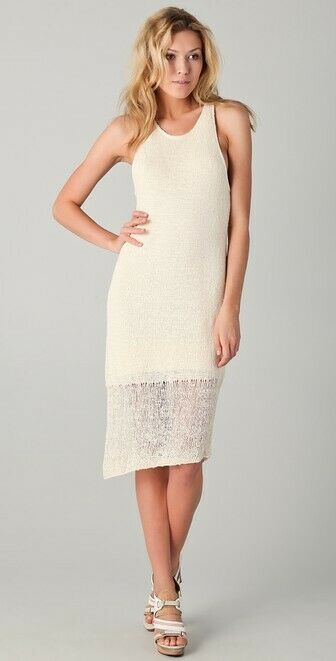 Rag & Bone Bridget Knit Silk Cream Assymetric Racerback Tank Dress Bouclé Med