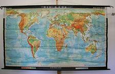 Schulwandkarte schöne alte Weltkarte Die Erde 211x125cm vintage world map 1974