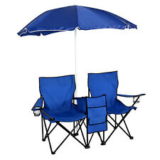 Double Picnic Folding Chair w Umbrella Table Cooler Fold Up Beach Camping Chair