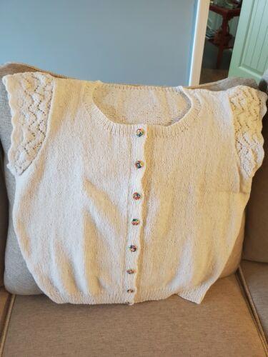 Vintage Hand Knit Summer Sweater, White