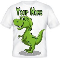 BOYS GIRLS Top Sublimation print Personalised Cute DINOSAUR T Shirt GIFT