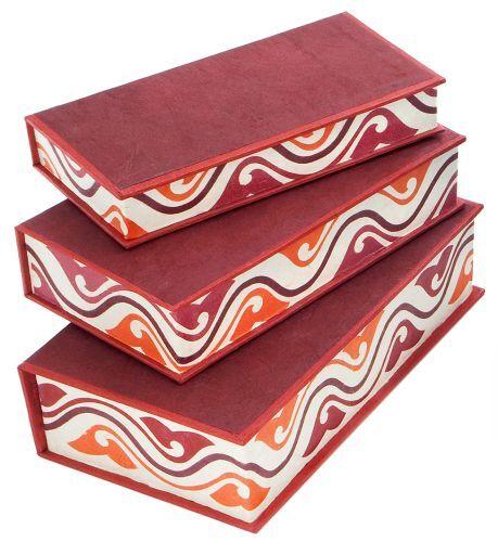 *Kartonagen*Boxen*Schachtelsatz*Buchformat*3er Set*dunkelrot/&Ornament*19x10cm