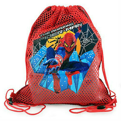 LOT 6 MARVEL SPIDERMAN Kids Sling Bag Tote Net Backpack BIRTHDAY PARTY FAVORS 3+