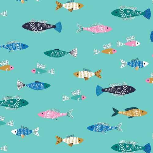 Cotton Fabric  Fat Quarter Dashwood Studio Into The Blue Fishes