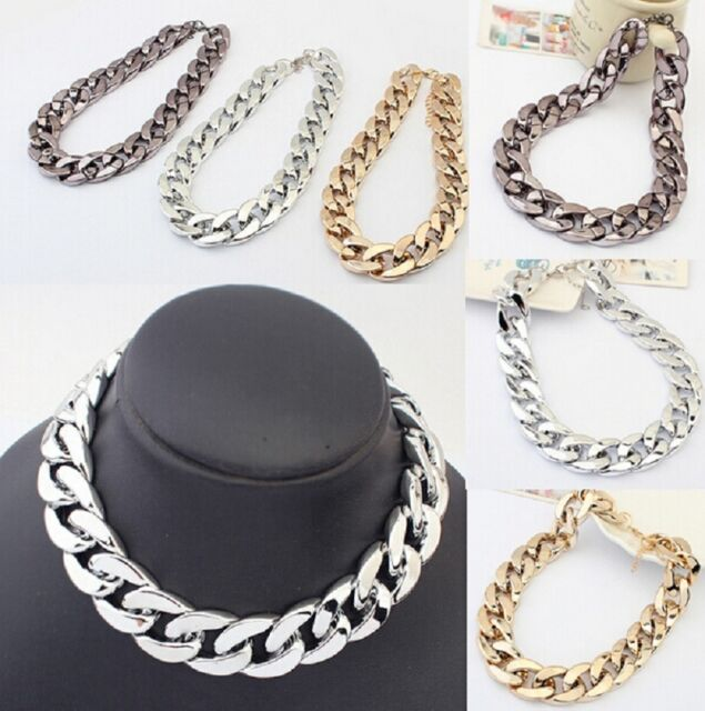 Gold Silver Choker Collar Chain Pendant Bib Necklace Chunky Statement Jewelry