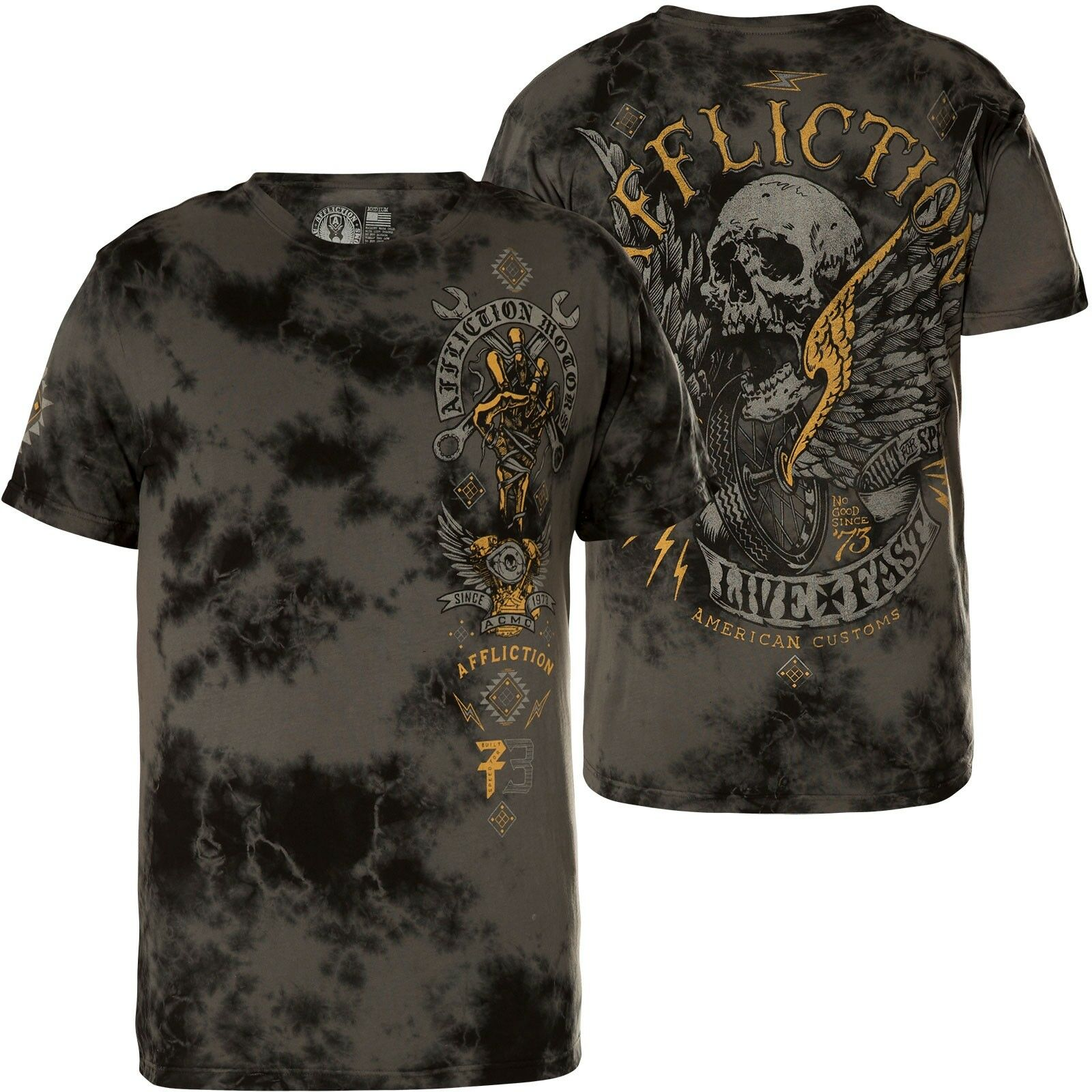 AFFLICTION T-Shirt Bad Luck Motors Grau T-Shirts