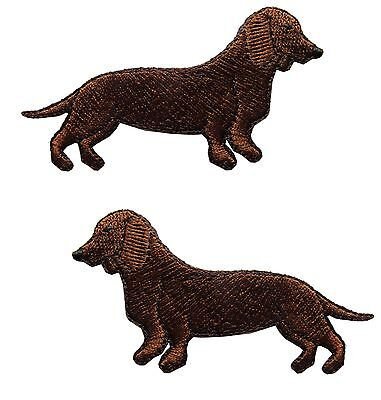 Left,Right Sausage Dog Embroidery Iron On Applique Patch