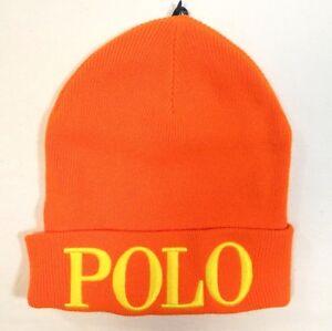67e46b09d Polo Ralph Lauren Signature Orange Wool Blend Cuff Knit Beanie Ski ...