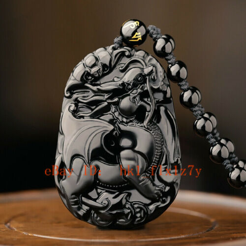Natural Black Obsidian Dragon Pendant Stone Necklace Fashion Charm Lucky Amulet