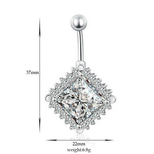 Details About Navel Belly Bars Crystal Dangly Body Piercing Belly Button Ring Square Diamond