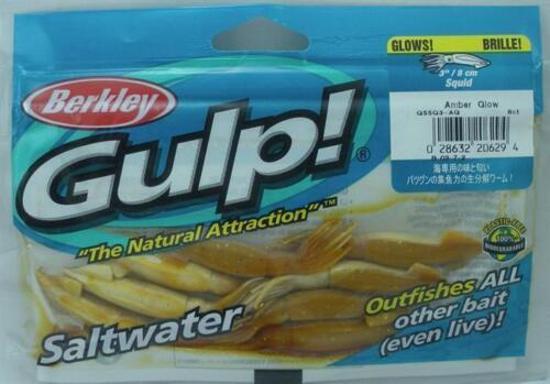 "Berkley GSSQ3-AG Gulp 3/"" Squid Amber Glow 8 Ct 10329"