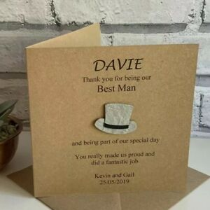 Dad Page Boy Best Man Witness Groomsman Personalised Thank You Usher Card