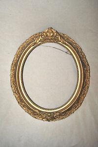 Image Is Loading Antique Wood Carved Ornate Oval Frame Fl Design