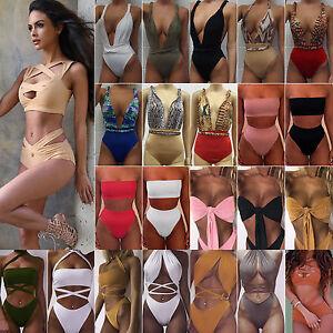 Women-High-Waisted-Swimwear-Push-up-Bikini-Swimsuit-Monokini-Beach-Bathing-Suit