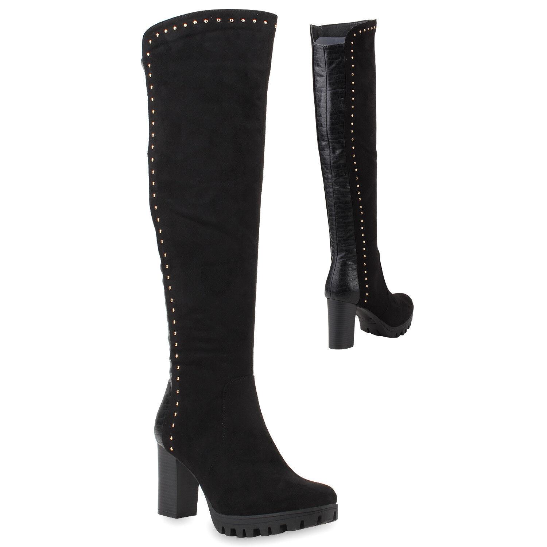 Gefütterte Damen Stiefel Nieten High Heels Kroko Profilsohle 78523 Schuhe