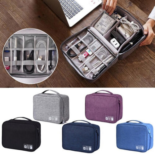 Electronics Accessories Organizer Travel Storage Hand Bag Cable USB Drive CaseP0