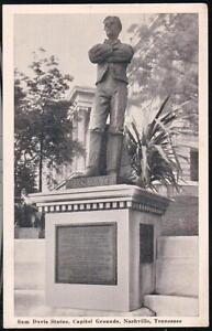 NASHVILLE-TN-Sam-Davis-Statue-Capitol-Grounds-Vintage-B-amp-W-1944-Postcard-Old-Tenn