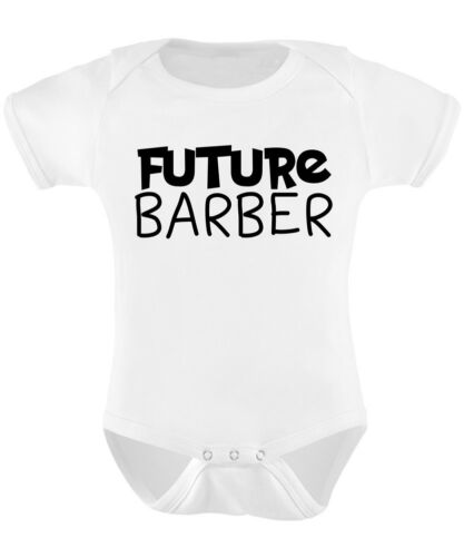 Future Barber Baby Grow Funny Gift Novelty Humour Birthday Hairdresser