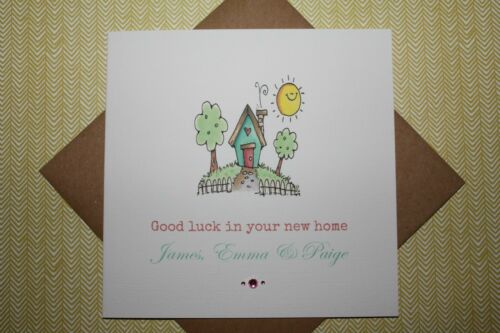 Handmade Personalised Cute Good Luck In Your New Home Card