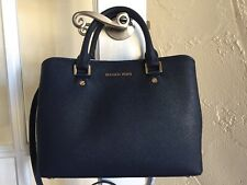 Michael Kors Savannah Medium Satchel Admiral Navy Blue Saffiano Leather