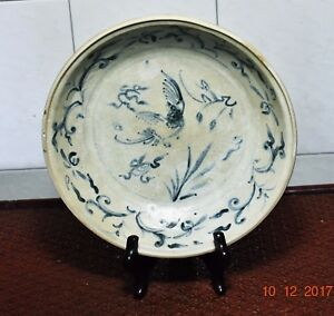 Hoi-an-shipwreck-15th-cent-blue-and-white-plate-bird-floral