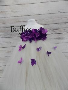 eb8ad11a0879 Image is loading Girls-Purple-amp-Ivory-Bridesmaids-Flowers-amp-Pearls-
