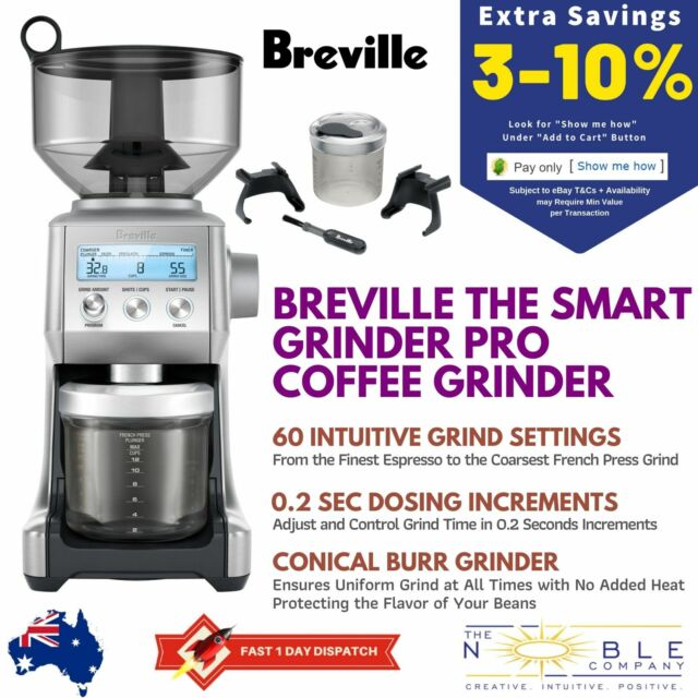 Breville BCG820BSS Smart Grinder Pro Electric Coffee Grinder Bean Conical Burr