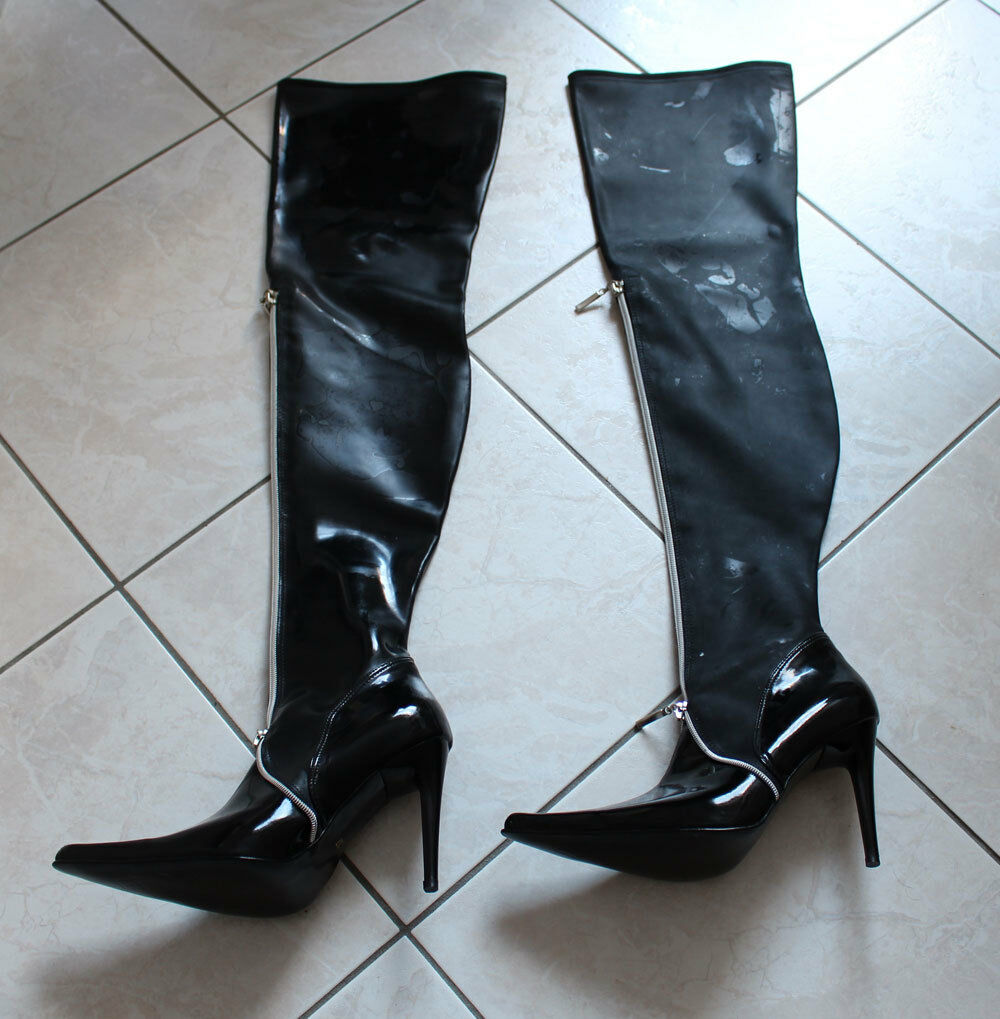 Latex Stiefel Gr. 36 Overknees High Heels Stilettoabsatz und Zipp vorn