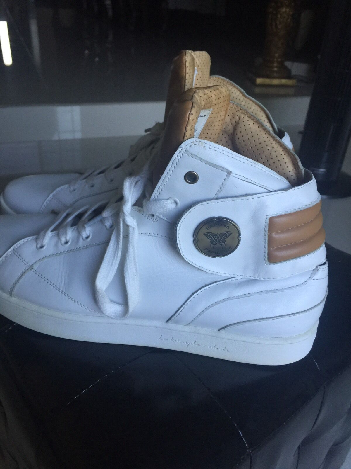 French Sneakers Barons  Papillom Barons Hi Cuir Blanc Unisex Size Euro 46 uS 12
