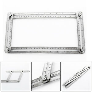 Stainless-Steel-Measuring-Tool-Four-side-Ruler-Scale-Multi-angle-Template-Scaler